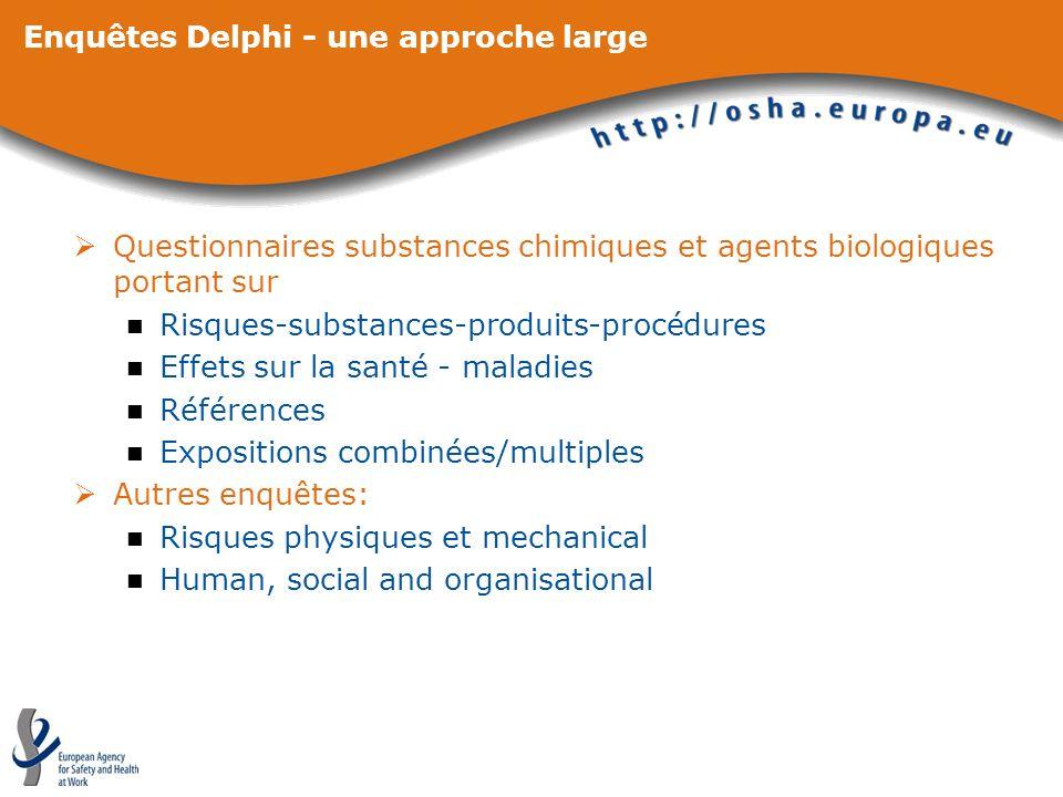 Enquêtes Delphi - une approche large Questionnaires substances chimiques et agents biologiques portant sur Risques-substances-produits-procédures Effe