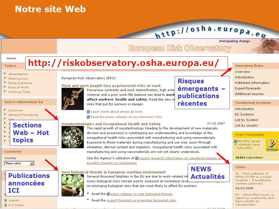http://riskobservatory.osha.europa.eu/ Notre site Web NEWS Actualités Sections Web – Hot topics Publications annoncées ICI Risques émergeants – public