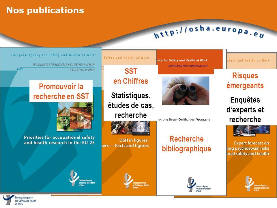 Nos publications Risques émergeants Enquêtes dexperts et recherche SST en Chiffres Statistiques, études de cas, recherche Recherche bibliographique Pr