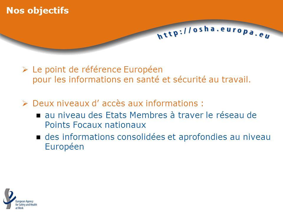 Nos objectifs Le point de référence Européen pour les informations en santé et sécurité au travail. Deux niveaux d accès aux informations : au niveau
