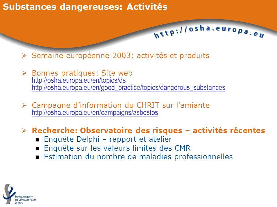 Substances dangereuses: Activités Semaine européenne 2003: activités et produits Bonnes pratiques: Site web http://osha.europa.eu/en/topics/ds http://