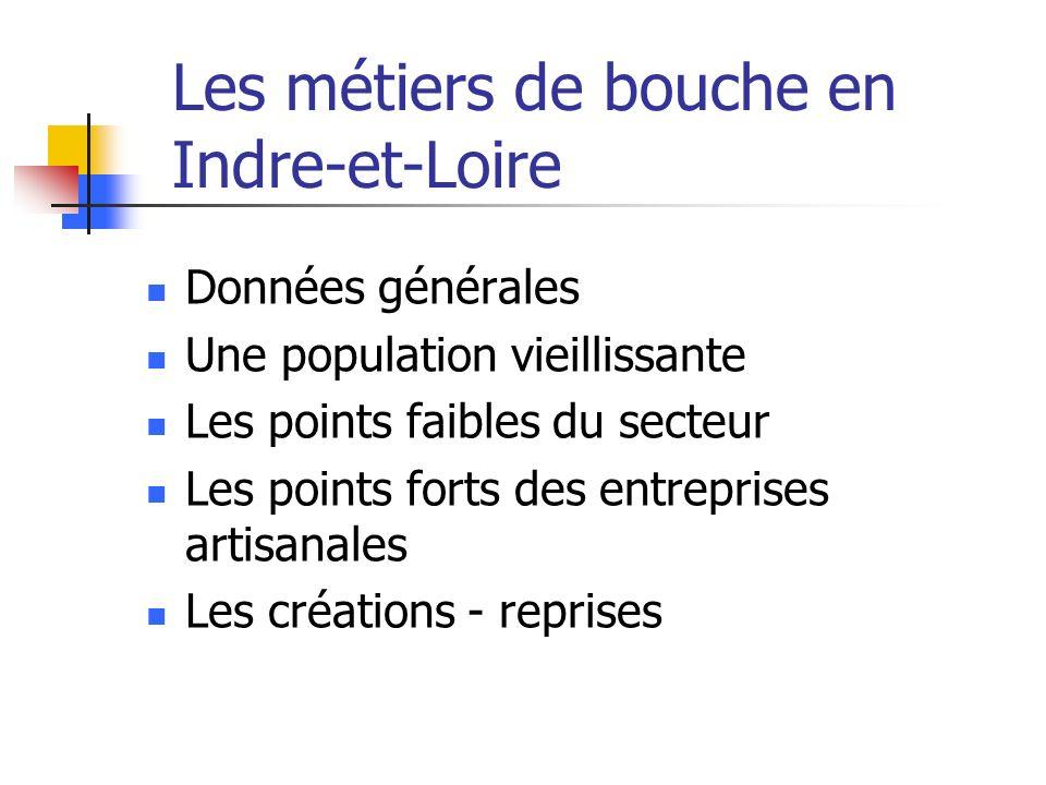 Données générales Une population vieillissante Les points faibles du secteur Les points forts des entreprises artisanales Les créations - reprises Les métiers de bouche en Indre-et-Loire