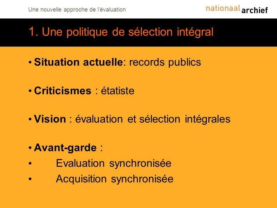 Une nouvelle approche de lévaluation 1. Une politique de sélection intégral Situation actuelle: records publics Criticismes : étatiste Vision : évalua
