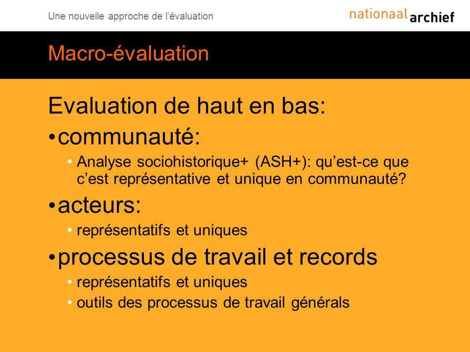 Une nouvelle approche de lévaluation Macro-évaluation Evaluation de haut en bas: communauté: Analyse sociohistorique+ (ASH+): quest-ce que cest représ