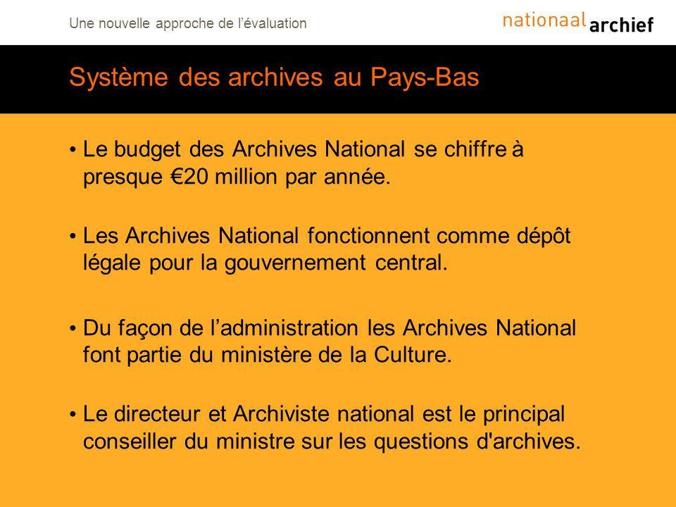 Une nouvelle approche de lévaluation Système des archives au Pays-Bas Le budget des Archives National se chiffre à presque 20 million par année. Les A