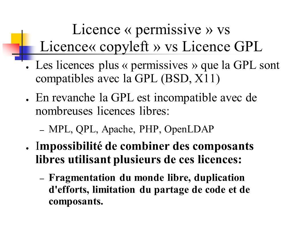 Licence « permissive » vs Licence« copyleft » vs Licence GPL Les licences plus « permissives » que la GPL sont compatibles avec la GPL (BSD, X11) En revanche la GPL est incompatible avec de nombreuses licences libres: – MPL, QPL, Apache, PHP, OpenLDAP Impossibilité de combiner des composants libres utilisant plusieurs de ces licences: – Fragmentation du monde libre, duplication d efforts, limitation du partage de code et de composants.