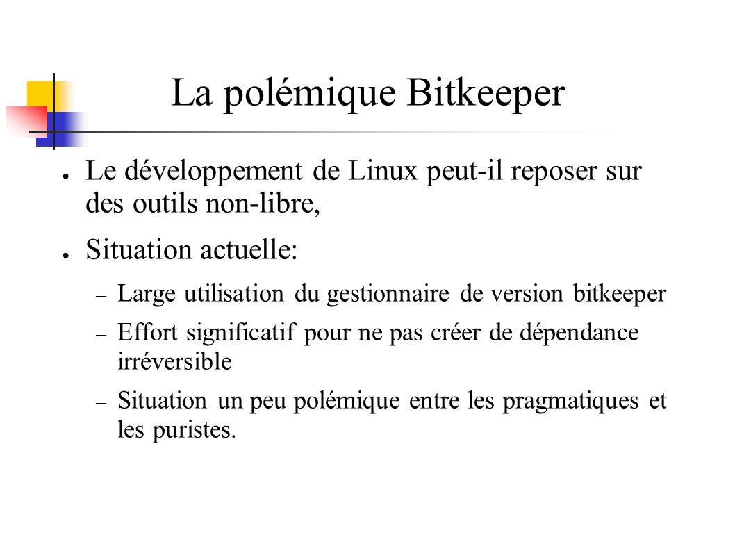 La polémique Bitkeeper Le développement de Linux peut-il reposer sur des outils non-libre, Situation actuelle: – Large utilisation du gestionnaire de