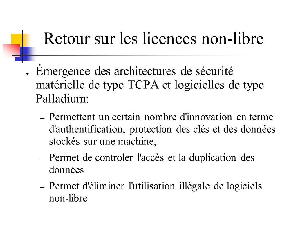 Retour sur les licences non-libre Émergence des architectures de sécurité matérielle de type TCPA et logicielles de type Palladium: – Permettent un ce