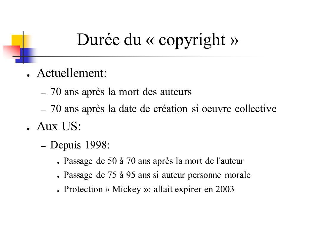 Durée du « copyright » Actuellement: – 70 ans après la mort des auteurs – 70 ans après la date de création si oeuvre collective Aux US: – Depuis 1998:
