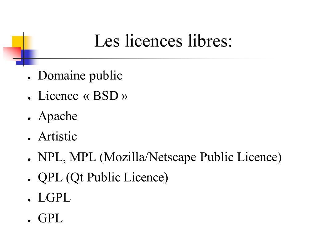 Les licences libres: Domaine public Licence « BSD » Apache Artistic NPL, MPL (Mozilla/Netscape Public Licence) QPL (Qt Public Licence) LGPL GPL