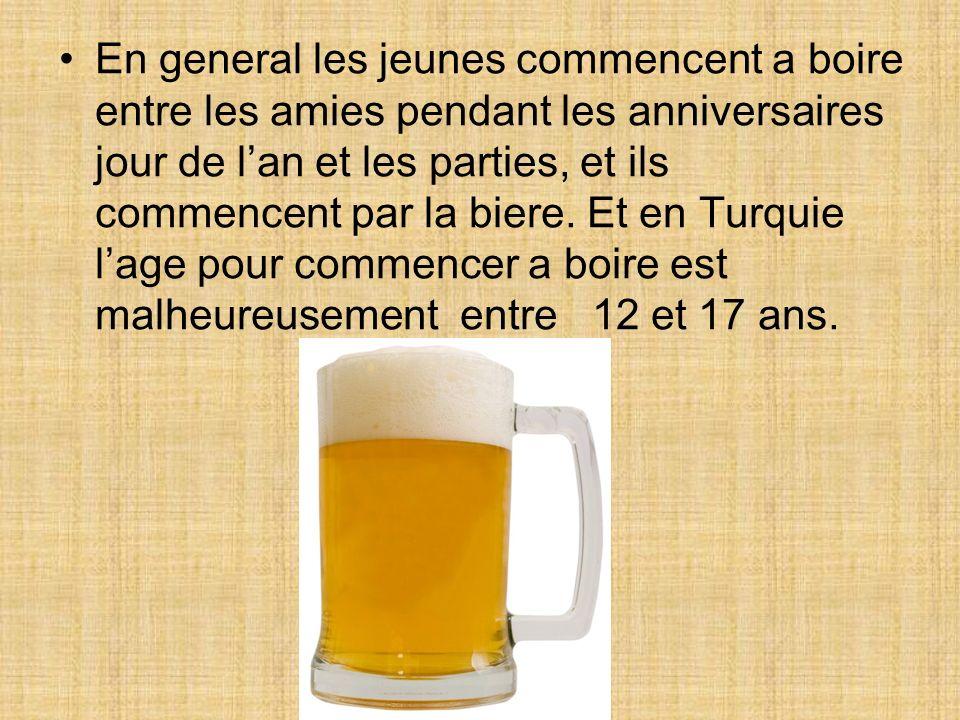 En general les jeunes commencent a boire entre les amies pendant les anniversaires jour de lan et les parties, et ils commencent par la biere. Et en T