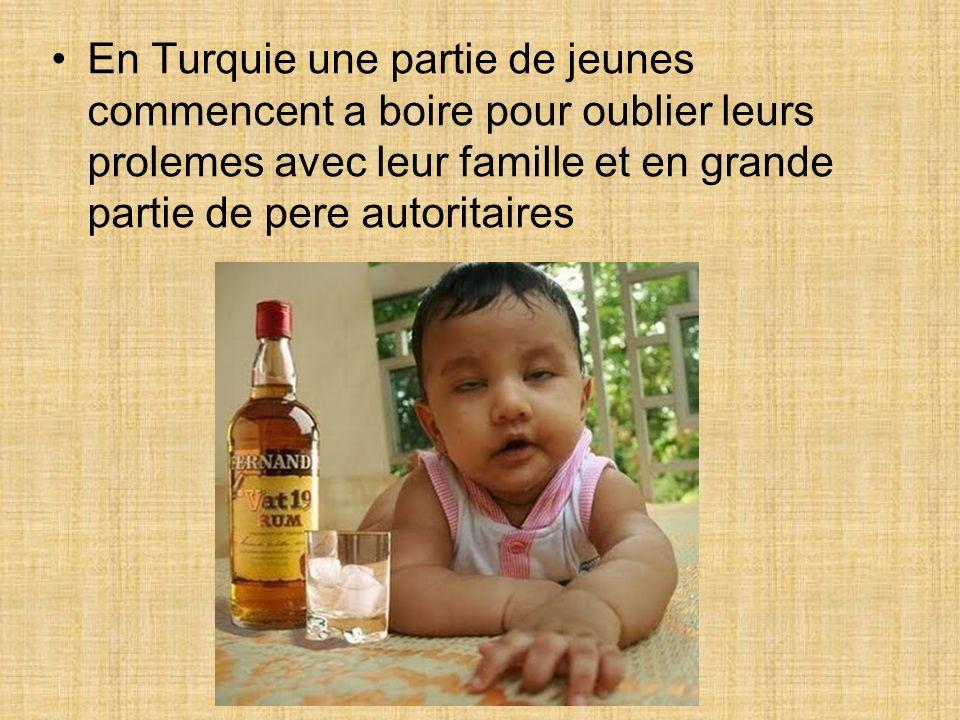 En Turquie une partie de jeunes commencent a boire pour oublier leurs prolemes avec leur famille et en grande partie de pere autoritaires