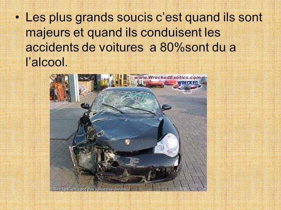 Les plus grands soucis cest quand ils sont majeurs et quand ils conduisent les accidents de voitures a 80%sont du a lalcool.