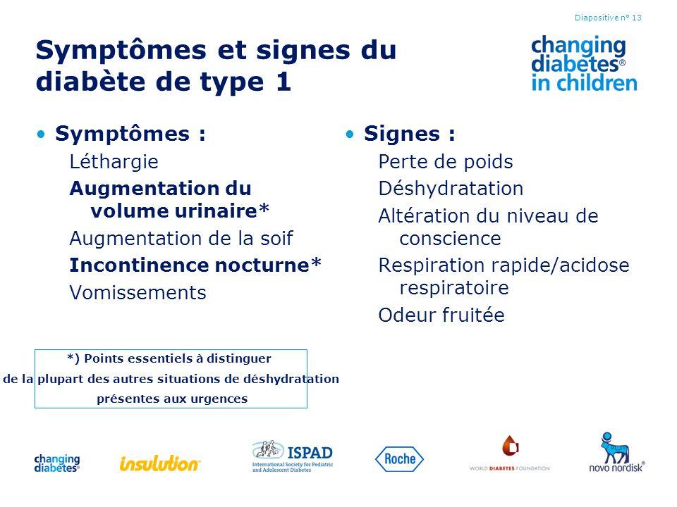 Symptômes et signes du diabète de type 1 Symptômes : Léthargie Augmentation du volume urinaire* Augmentation de la soif Incontinence nocturne* Vomisse