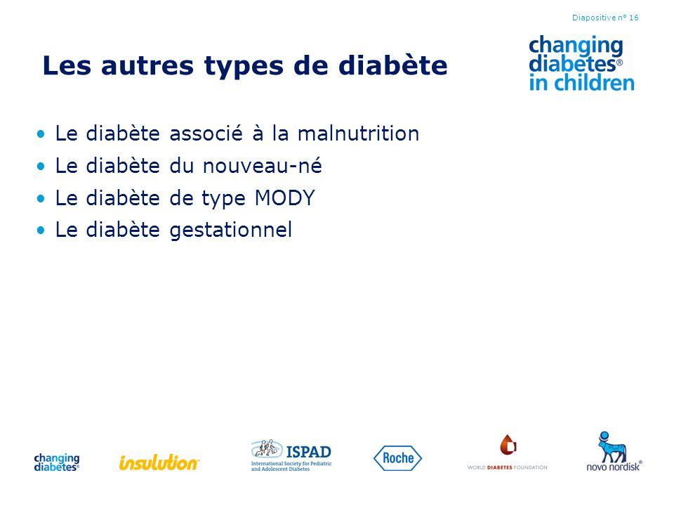 Les autres types de diabète Le diabète associé à la malnutrition Le diabète du nouveau-né Le diabète de type MODY Le diabète gestationnel Diapositive