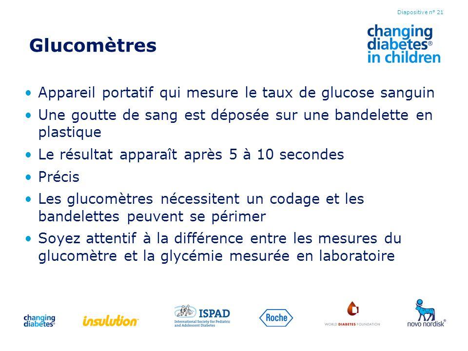 Glucomètres Appareil portatif qui mesure le taux de glucose sanguin Une goutte de sang est déposée sur une bandelette en plastique Le résultat apparaî