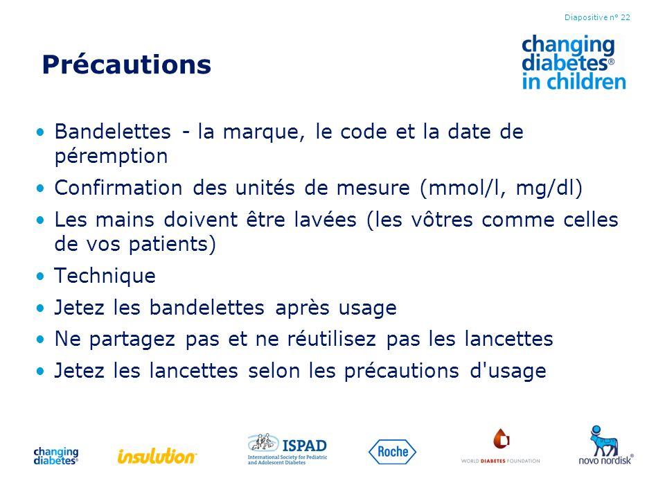 Précautions Bandelettes - la marque, le code et la date de péremption Confirmation des unités de mesure (mmol/l, mg/dl) Les mains doivent être lavées