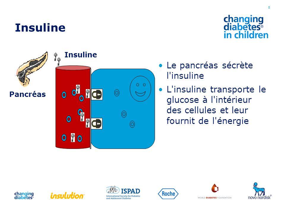 Insuline Le pancréas sécrète l'insuline L'insuline transporte le glucose à l'intérieur des cellules et leur fournit de l'énergie 8 Insuline Pancréas