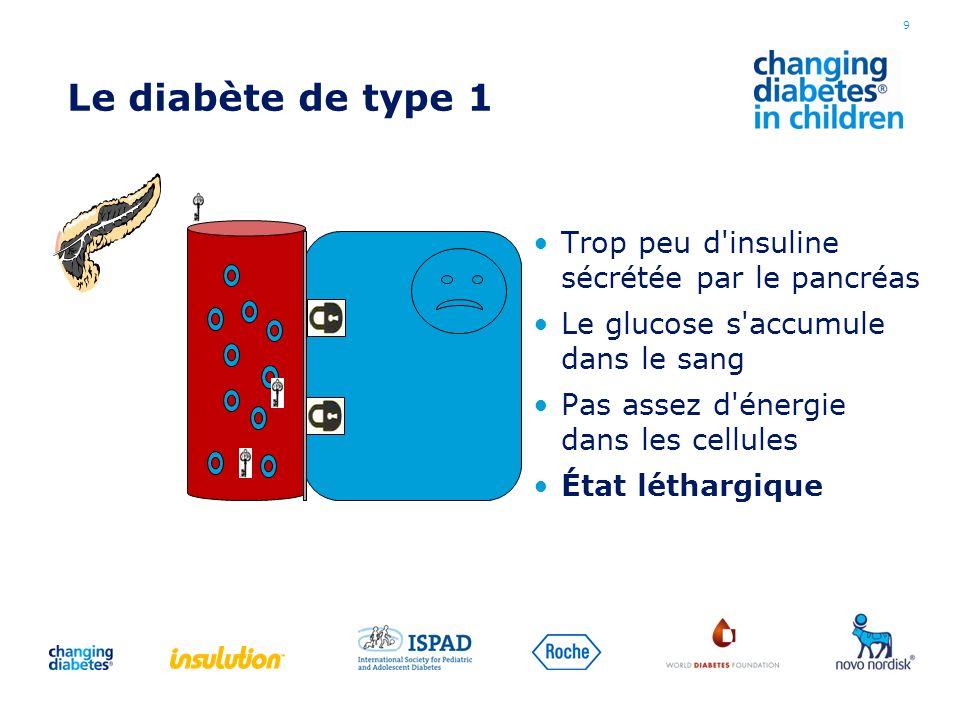 Le diabète de type 1 Trop peu d'insuline sécrétée par le pancréas Le glucose s'accumule dans le sang Pas assez d'énergie dans les cellules État léthar