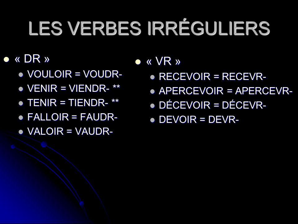 LES VERBES IRRÉGULIERS « DR » « DR » VOULOIR = VOUDR- VOULOIR = VOUDR- VENIR = VIENDR- ** VENIR = VIENDR- ** TENIR = TIENDR- ** TENIR = TIENDR- ** FAL