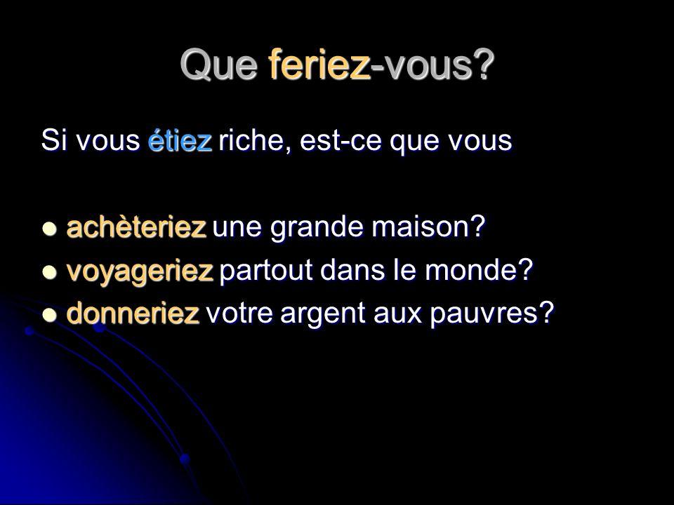 Que feriez-vous.Si vous pouviez parler français couramment, est-ce que vous voyageriez en France.