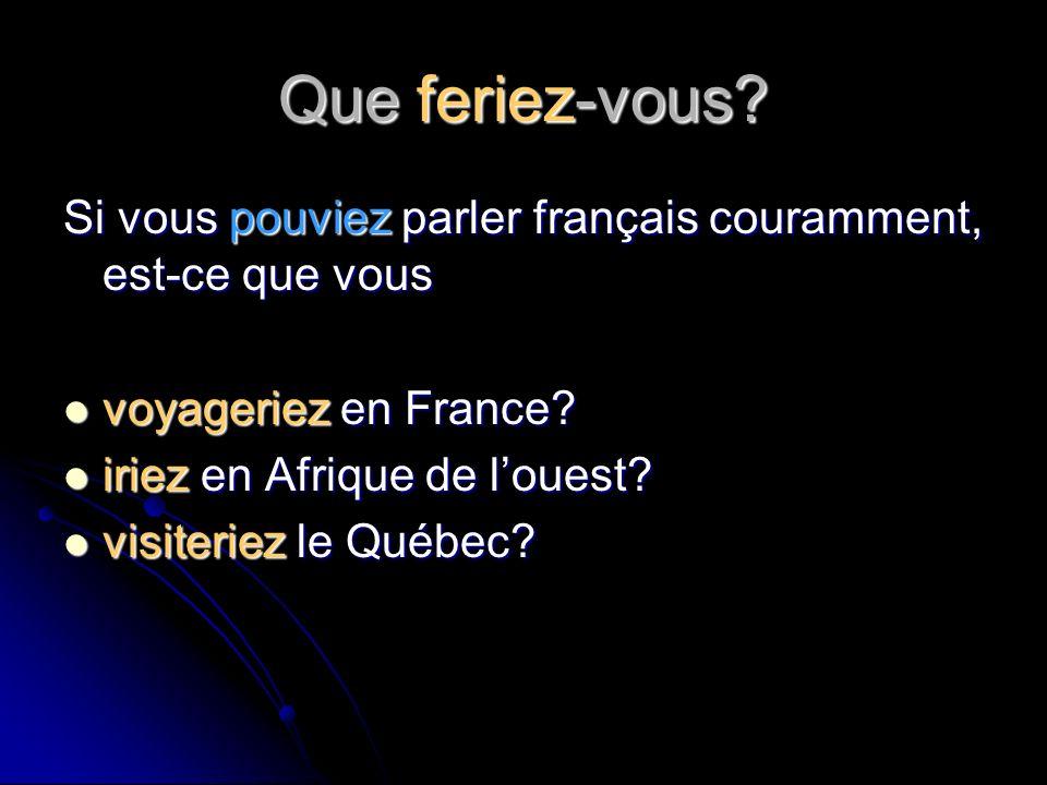 Que feriez-vous? Si vous pouviez parler français couramment, est-ce que vous voyageriez en France? voyageriez en France? iriez en Afrique de louest? i