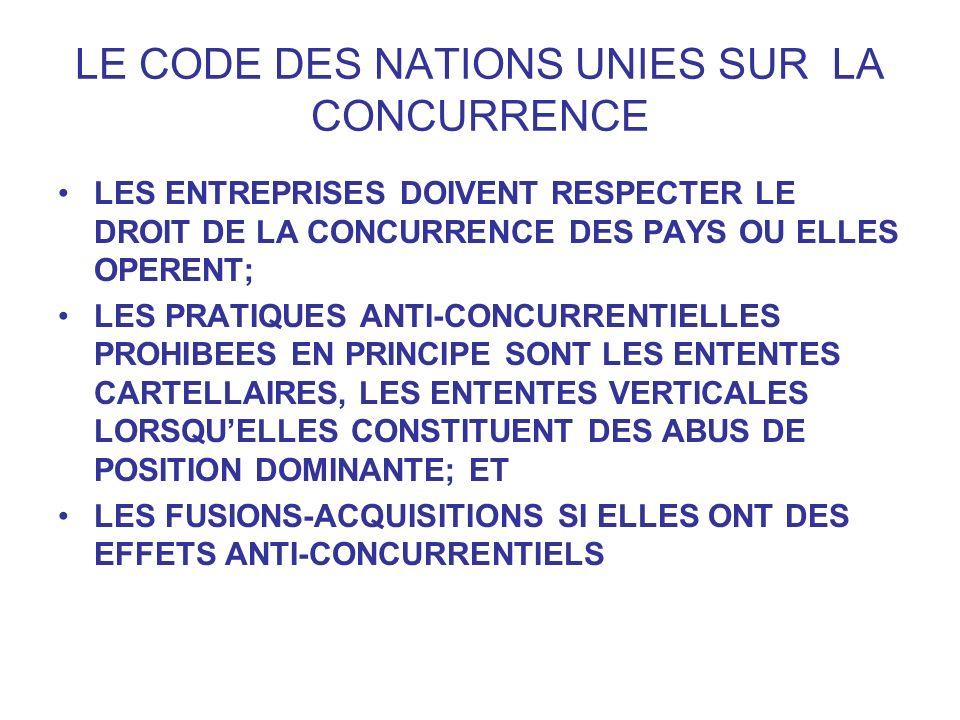 LE CODE DES NATIONS UNIES SUR LA CONCURRENCE LES ENTREPRISES DOIVENT RESPECTER LE DROIT DE LA CONCURRENCE DES PAYS OU ELLES OPERENT; LES PRATIQUES ANT