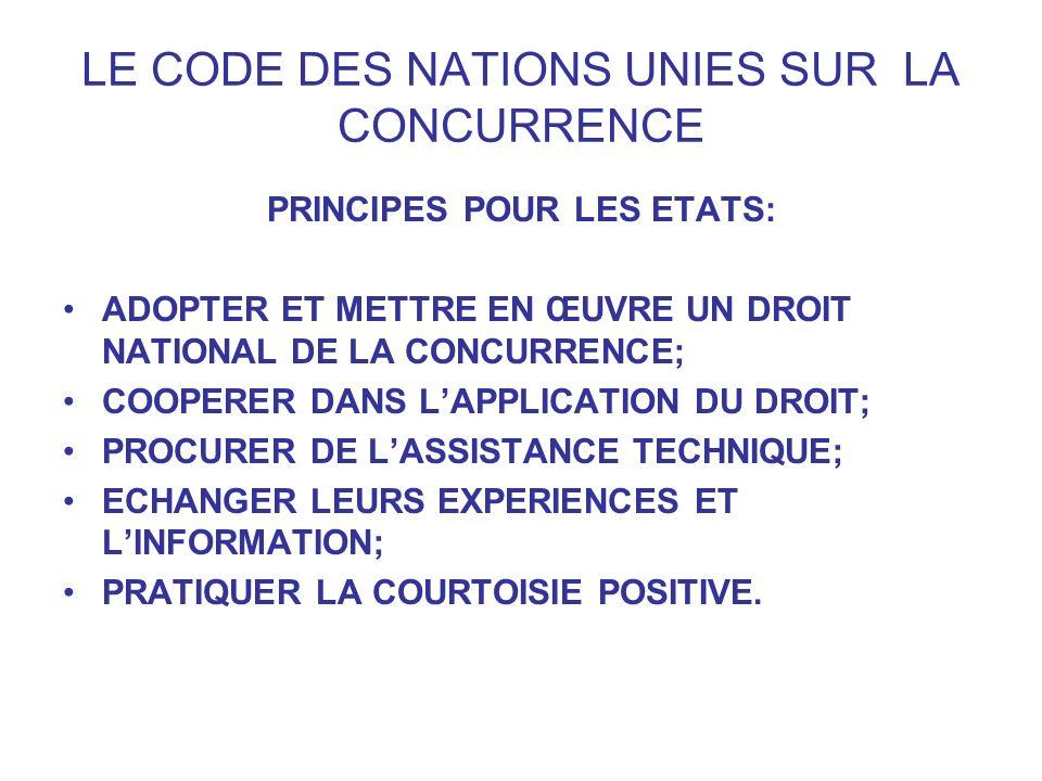 LE CODE DES NATIONS UNIES SUR LA CONCURRENCE PRINCIPES POUR LES ETATS: ADOPTER ET METTRE EN ŒUVRE UN DROIT NATIONAL DE LA CONCURRENCE; COOPERER DANS L