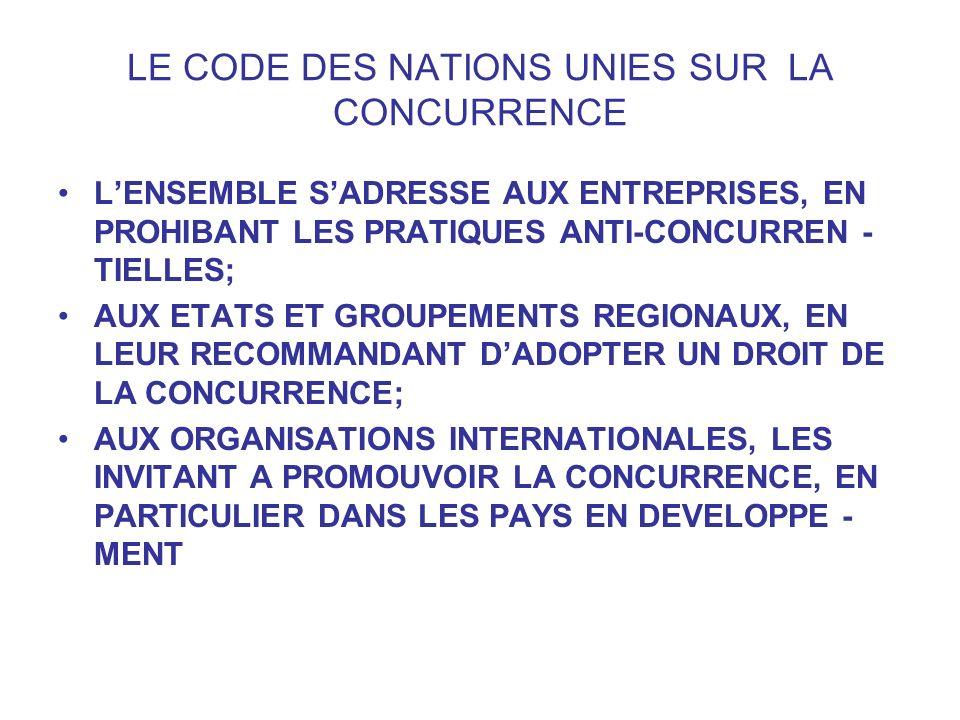 LE CODE DES NATIONS UNIES SUR LA CONCURRENCE LENSEMBLE SADRESSE AUX ENTREPRISES, EN PROHIBANT LES PRATIQUES ANTI-CONCURREN - TIELLES; AUX ETATS ET GRO