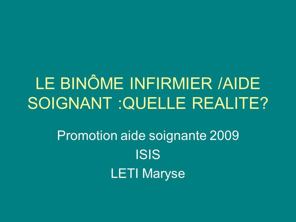 LE BINÔME INFIRMIER /AIDE SOIGNANT :QUELLE REALITE? Promotion aide soignante 2009 ISIS LETI Maryse