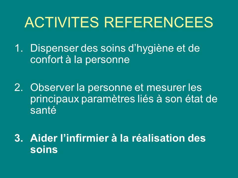 ACTIVITES REFERENCEES 1.Dispenser des soins dhygiène et de confort à la personne 2.Observer la personne et mesurer les principaux paramètres liés à so