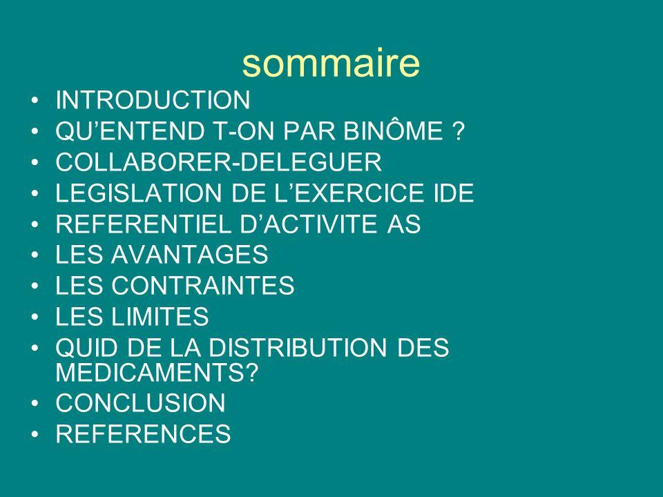 sommaire INTRODUCTION QUENTEND T-ON PAR BINÔME ? COLLABORER-DELEGUER LEGISLATION DE LEXERCICE IDE REFERENTIEL DACTIVITE AS LES AVANTAGES LES CONTRAINT