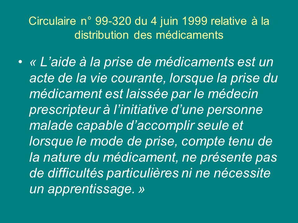 Circulaire n° 99-320 du 4 juin 1999 relative à la distribution des médicaments « Laide à la prise de médicaments est un acte de la vie courante, lorsq