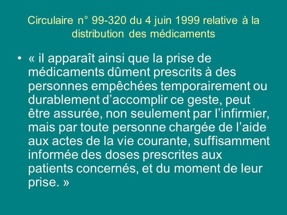 Circulaire n° 99-320 du 4 juin 1999 relative à la distribution des médicaments « il apparaît ainsi que la prise de médicaments dûment prescrits à des