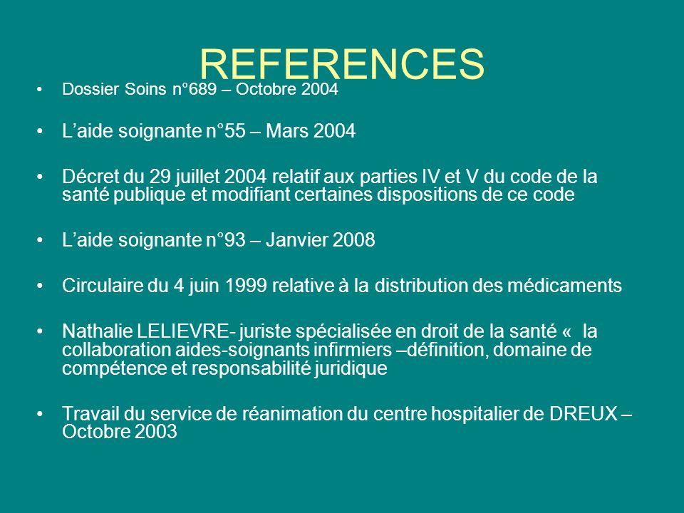 REFERENCES Dossier Soins n°689 – Octobre 2004 Laide soignante n°55 – Mars 2004 Décret du 29 juillet 2004 relatif aux parties IV et V du code de la san