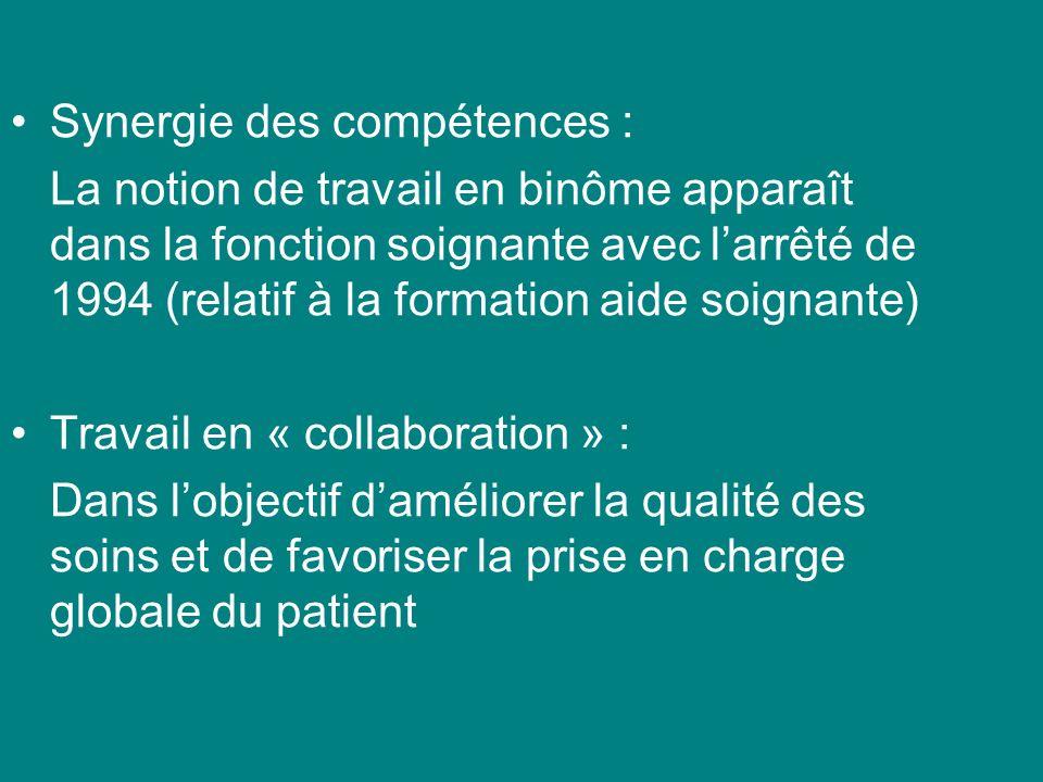 Synergie des compétences : La notion de travail en binôme apparaît dans la fonction soignante avec larrêté de 1994 (relatif à la formation aide soigna