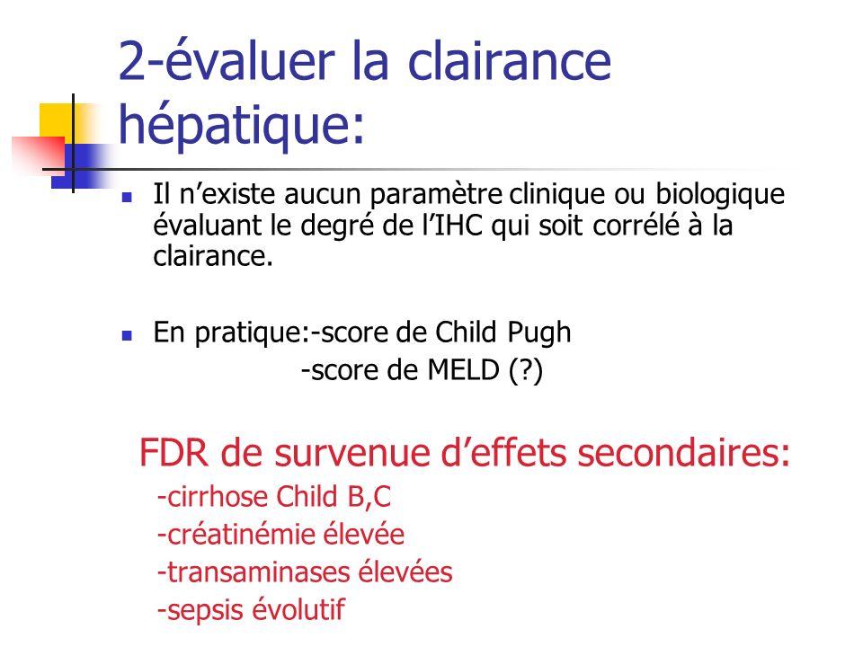 2-évaluer la clairance hépatique: Il nexiste aucun paramètre clinique ou biologique évaluant le degré de lIHC qui soit corrélé à la clairance. En prat