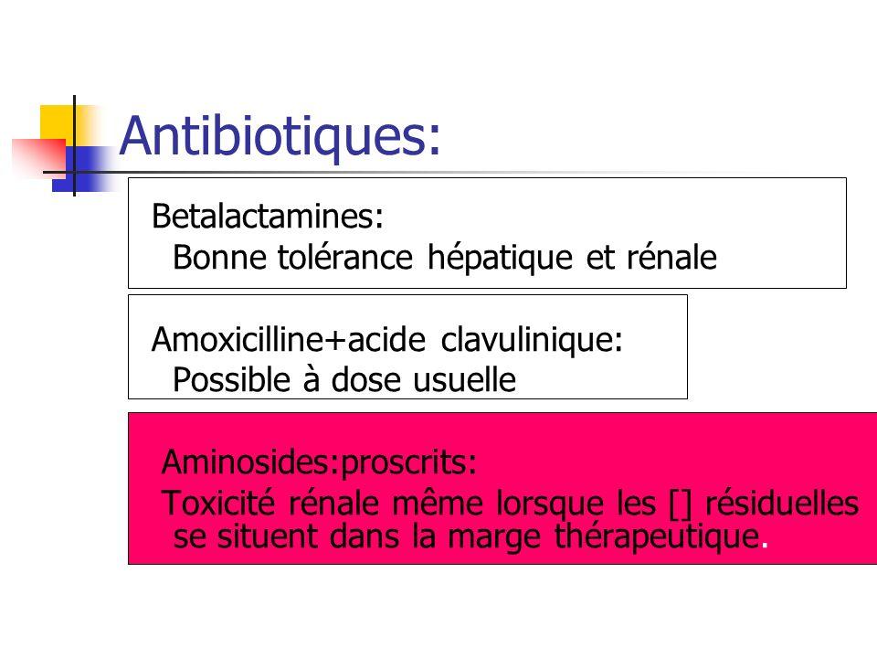 Betalactamines: Bonne tolérance hépatique et rénale Amoxicilline+acide clavulinique: Possible à dose usuelle Aminosides:proscrits: Toxicité rénale mêm