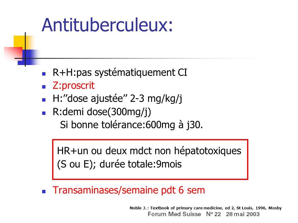 Antituberculeux: R+H:pas systématiquement CI Z:proscrit H:dose ajustée 2-3 mg/kg/j R:demi dose(300mg/j) Si bonne tolérance:600mg à j30. HR+un ou deux