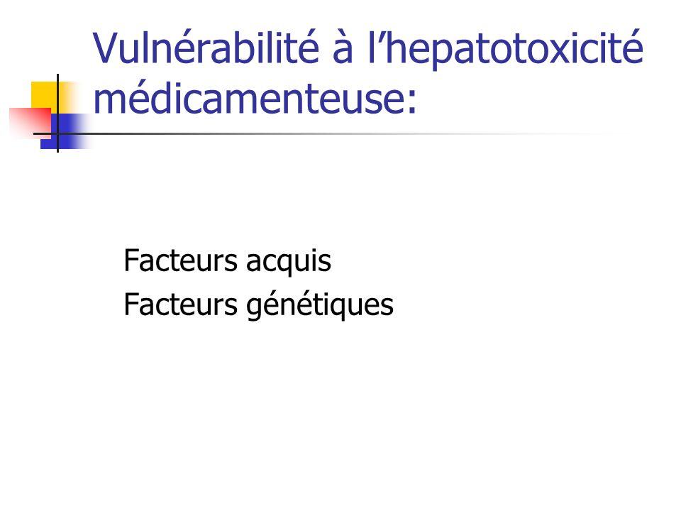 Vulnérabilité à lhepatotoxicité médicamenteuse: Facteurs acquis: -age -Sexe -Nutrition -Consommation alcool,tabac,mdct -ATCD de pathologie hépatique, rénale ou thyroïdienne.