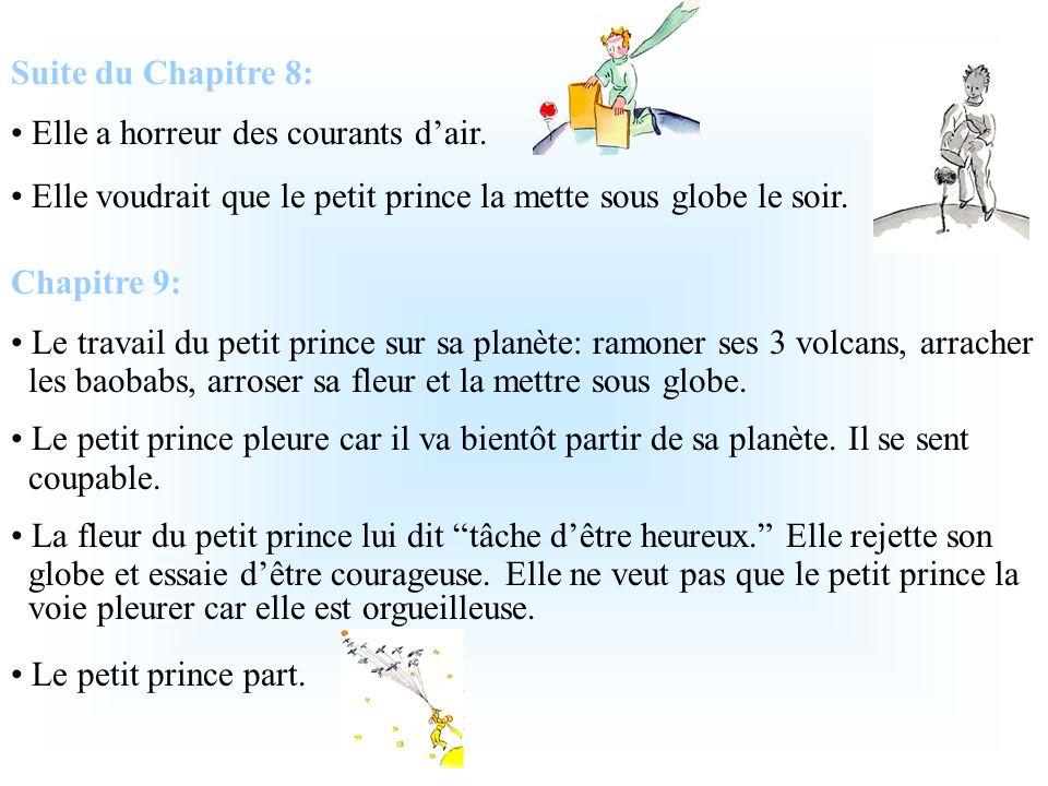 Suite du Chapitre 7: Lauteur est irrité avec les questions du petit prince car il sinquiète de son moteur et du fait quil na presque rien à boire. Lau