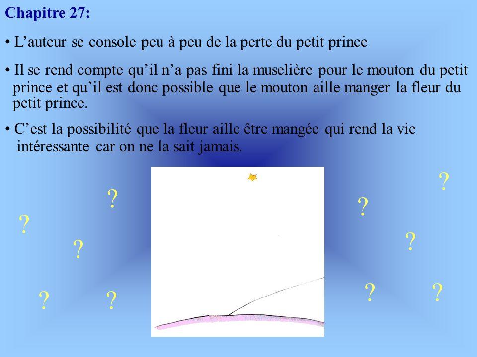 Suite du Chapitre 26: Lauteur ne voudrait pas que le petit prince meure car son rire va lui manquer. Le petit prince essaie de consoler lauteur en lui