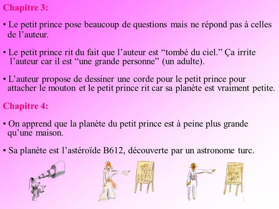 Chapitre 3: Le petit prince pose beaucoup de questions mais ne répond pas à celles de lauteur.