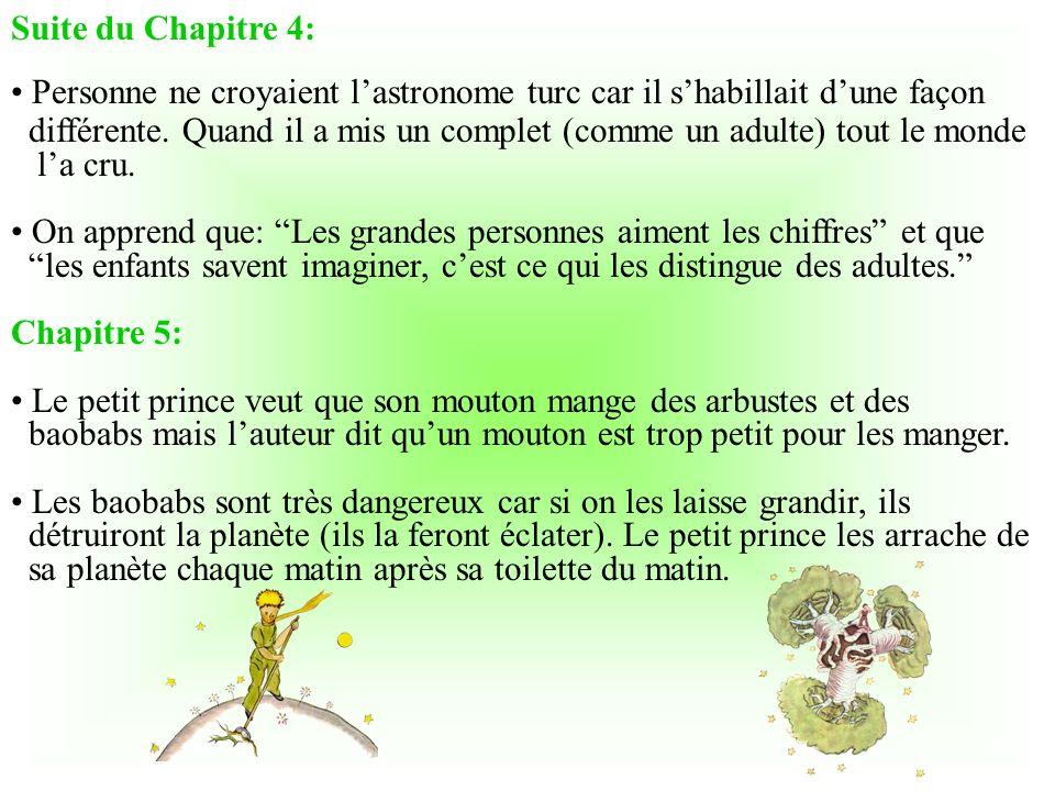Chapitre 3: Le petit prince pose beaucoup de questions mais ne répond pas à celles de lauteur. Le petit prince rit du fait que lauteur est tombé du ci