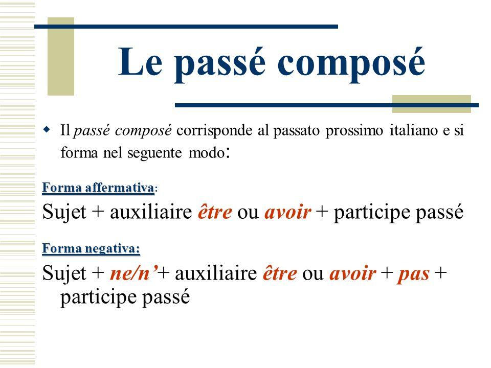 Le passé composé Il passé composé corrisponde al passato prossimo italiano e si forma nel seguente modo : Forma affermativa Forma affermativa : Sujet