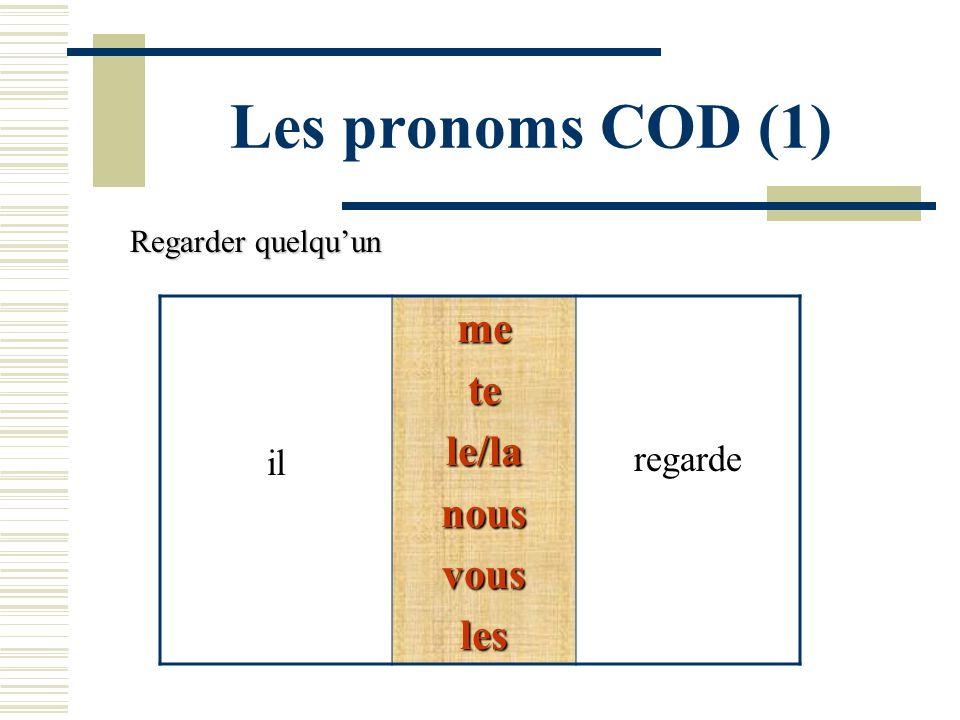 Les pronoms COD (1) ilmetele/lanousvousles regarde Regarder quelquun