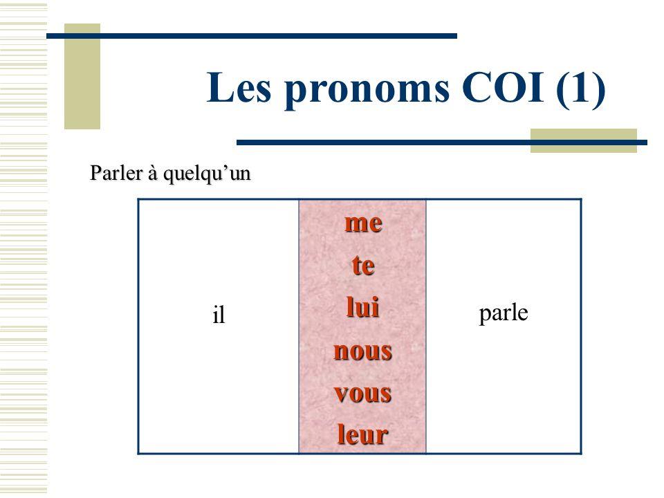 Les pronoms COI (1) ilmeteluinousvousleur parle Parler à quelquun