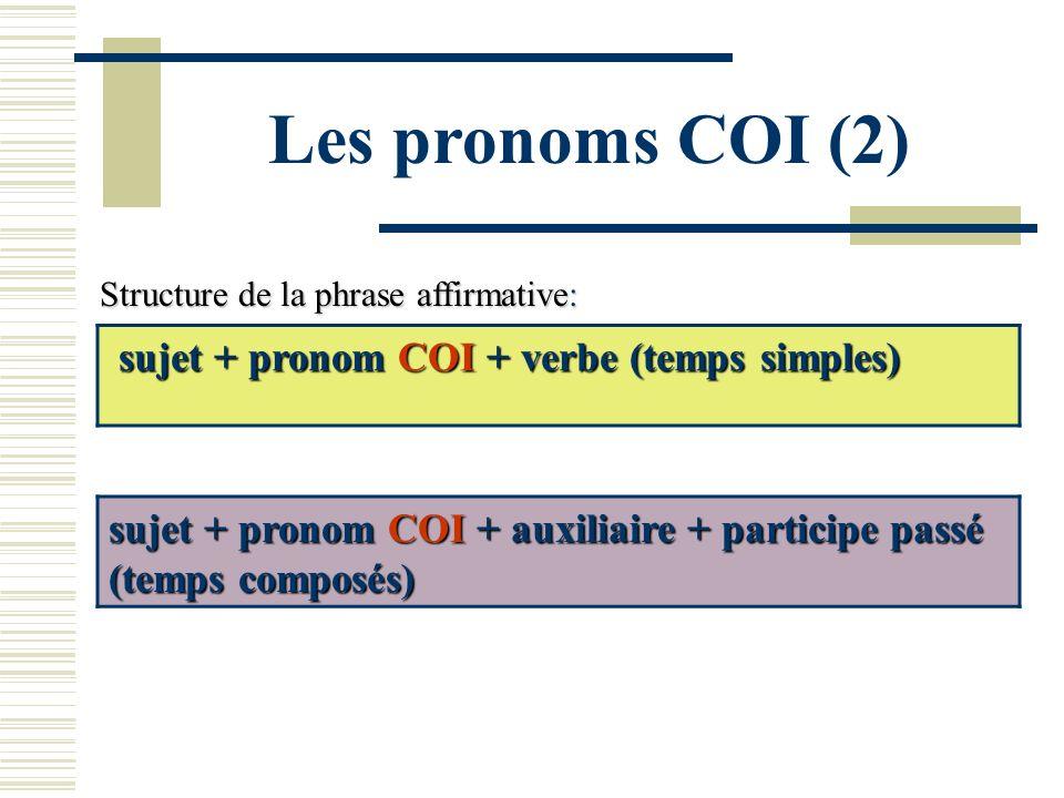 Les pronoms COI (2) Structure de la phrase affirmative: sujet + pronom COI + verbe (temps simples) sujet + pronom COI + auxiliaire + participe passé (