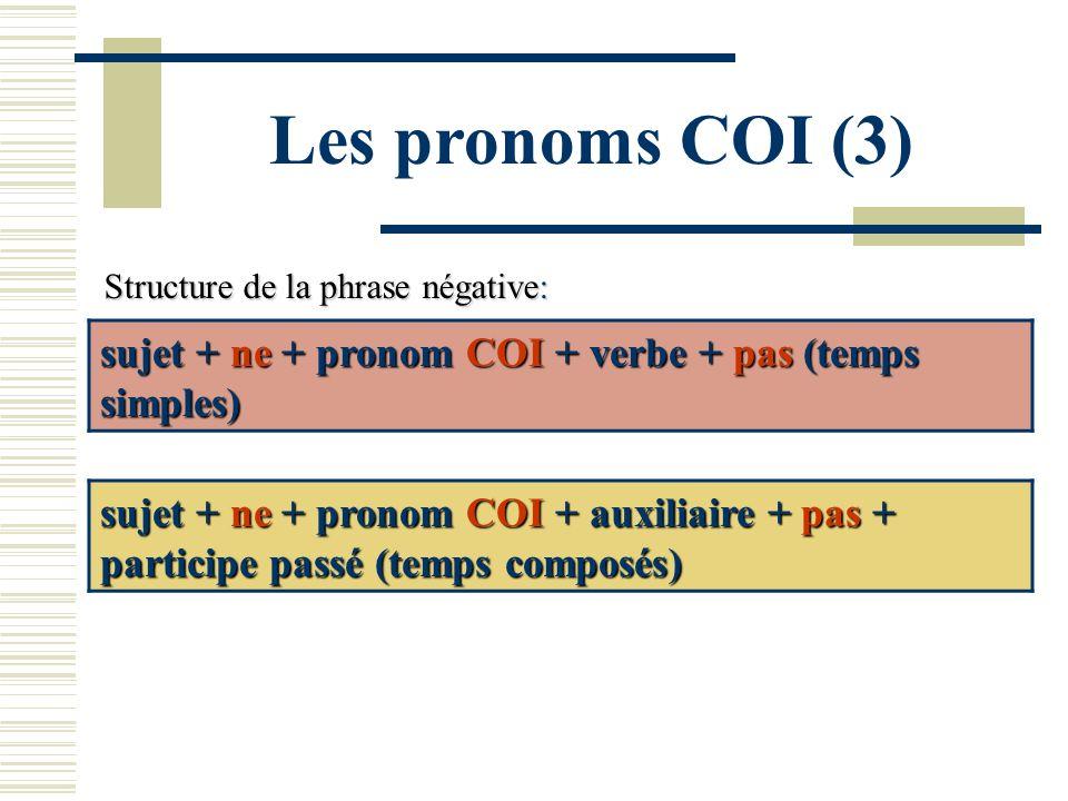 Les pronoms COI (3) Structure de la phrase négative: sujet + ne + pronom COI + verbe + pas (temps simples) sujet + ne + pronom COI + auxiliaire + pas