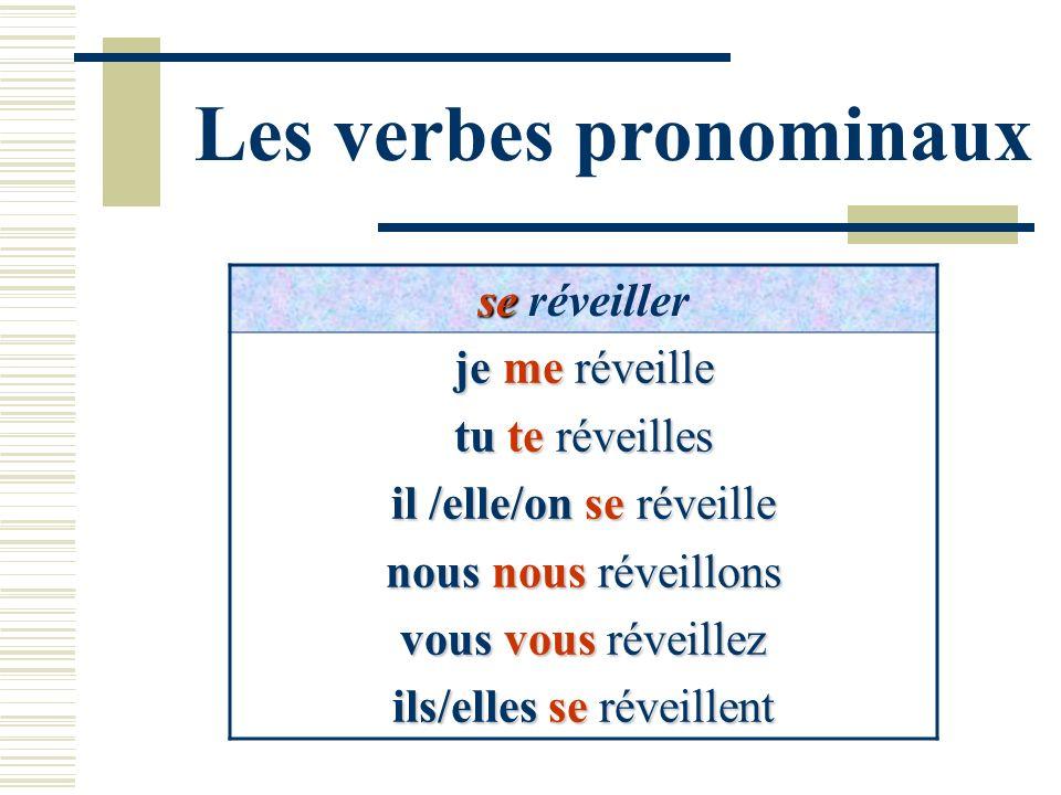 Les verbes pronominaux se se réveiller je me réveille tu te réveilles il /elle/on se réveille nous nous réveillons vous vous réveillez ils/elles se ré